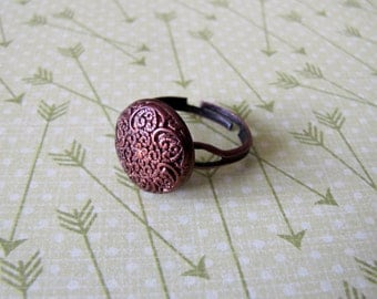 Textured Bronze Button Ring