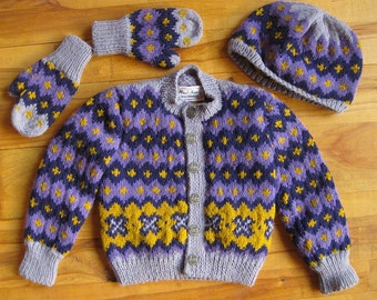 handknit Childrens Scandinavian style Sweater, Cap and Mittens.
