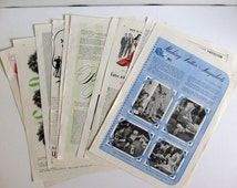 Vintage, Nine Pages of Vintage Ads and Lifestyle, Scrapbook Supplies 1940's, Black and White, and Colored