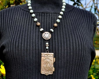 OUR LADY of LUJAN assemblage necklace.