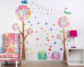 Pink & Blue Elephants and Trees - Extra Large - AW213