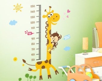 Giraffe and Monkey Height Chart Wall Sticker / Decal - AW831