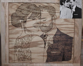 Custom Wood Burned Portrait (from your photo)