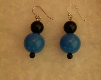 Cerulean Blue and Black Earrings