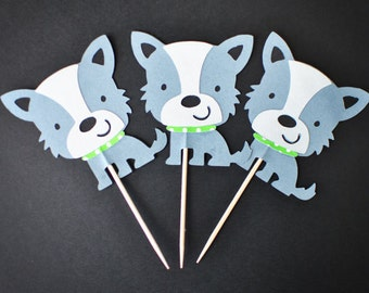 Dog - Scrappy Dog Cupcake Toppers - Pet - Set of 12