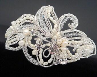Vintage Bridal Headpiece, Lace Wedding headpiece, Beaded Wedding headband, Freshwater pearl headpiece, Rhinestone headband