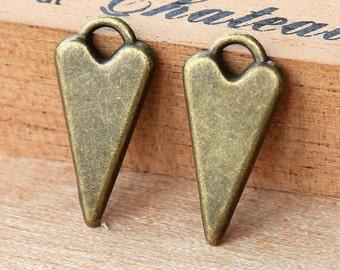 3 pcs Fancy Heart Charms, Antique Bronze, 22mm