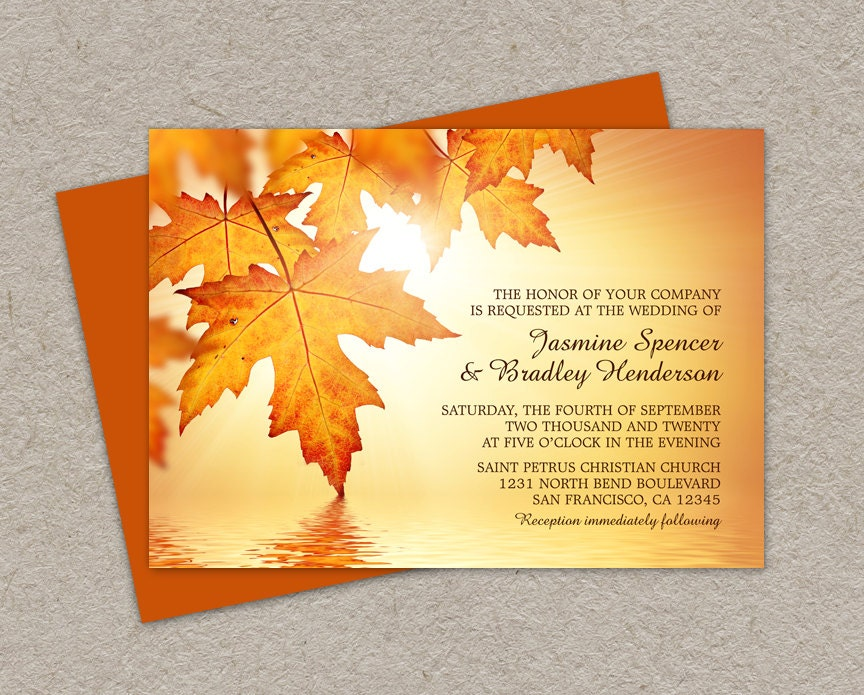 Fall Wedding Invitation Wording: DIY Printable Fall Wedding Invitations With Leaves Fall