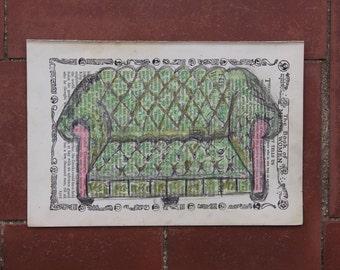 Leona, Original Chalk Pastel Painting of Green Tufted Sofa