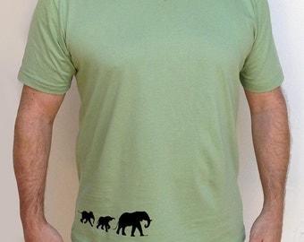 Men's Silkscreened Organic Cotton Fine Jersey Short Sleeve V-Neck Elephants LARKSHAPES Tee