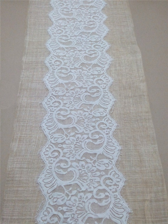 Items similar to 10 ft wedding table runner 9 wide lace for 10 foot table runner