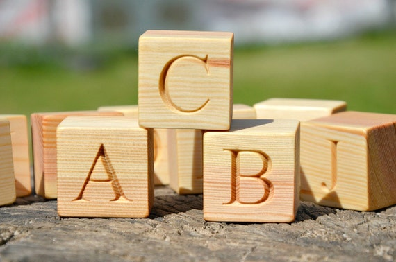 Sale large wooden alphabet block by klikklakblocks