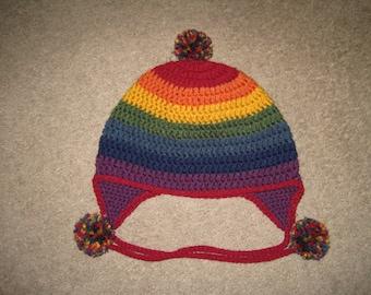 Custom Crochet Rainbow Pride Beanie