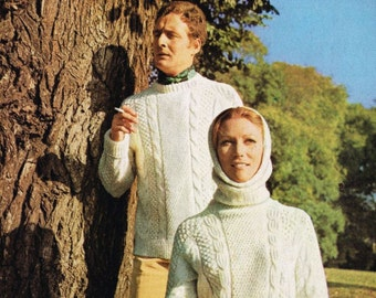 Bestway 4059 family aran style jumper with hood vintage knitting pattern PDF instant download