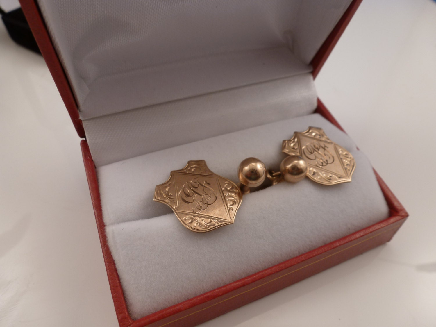 antique 9k rose gold cufflinks by lustre. Black Bedroom Furniture Sets. Home Design Ideas