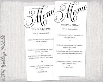"""Menu template black and white wedding menu DIY wedding menu template """"Parfumerie"""" black digital printable menu - instant download"""