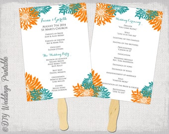 "Wedding fan template program ""Flower Burst"" Orange & teal DIY order of ceremony Gerber daisy printable fan wedding program Word download"