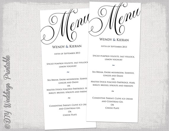 Menu template black and white wedding menu diy wedding menu for Free wedding menu templates