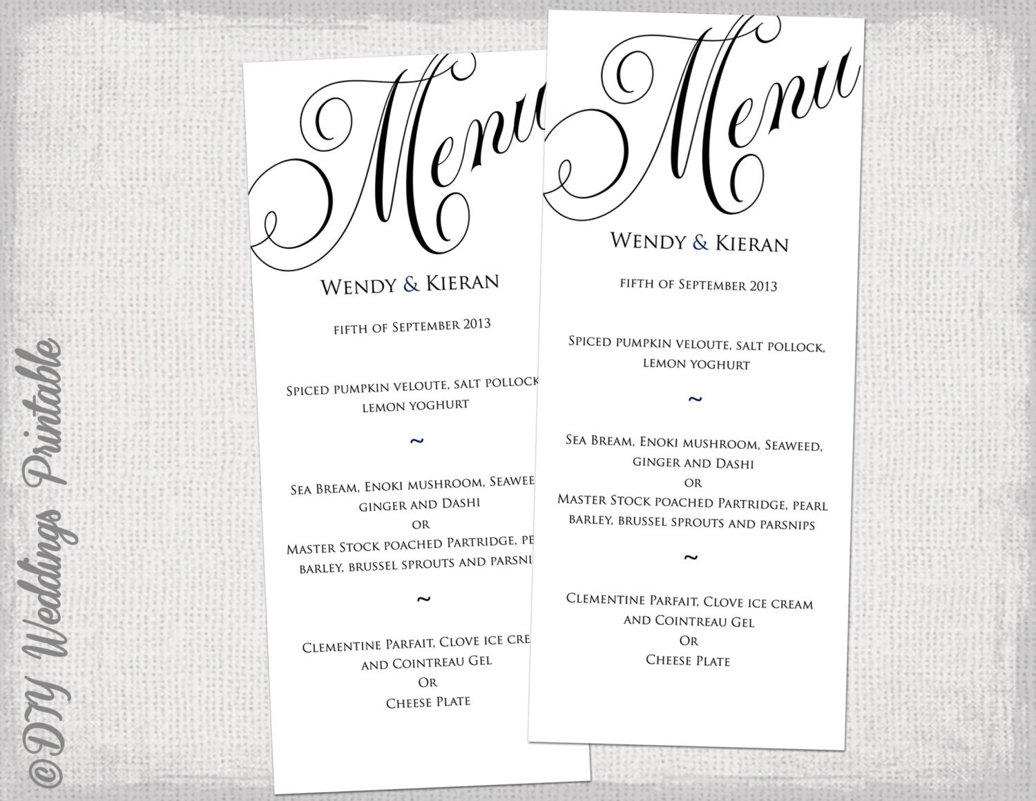 elegant dinner menu template