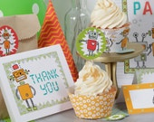 Printable Cupcake Toppers and Wrappers Robot Birthday Party - digital pdf file