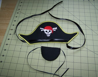 Pirate hat and Eye patch for the 6x10 hoop