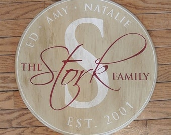 "15"" Family Established Sign - Personalized Name Monogram Sign - Painted Wood Sign - Wedding Anniversary Gift - Est. Date - Custom Gift"