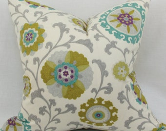"Green & teal decorative throw pillow cover. 18"" x 18"".20"" x 20"" . 22"" x 22"". 24"" x 24"". 26"" x 26"". Accent pillow."