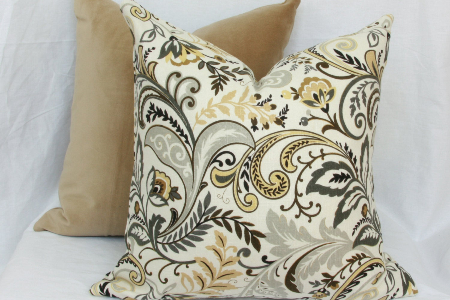Throw Pillows Tan : Tan & grey linen decorative throw pillow cover. by JoyWorkshoppe