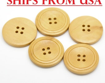 "50 Wood Buttons 1 1/4"", 32mm Natural Wood Finish Buttons, Bulk Wooden Buttons, Natural Wood Buttons Large Wooden Buttons Wholesale Buttons"