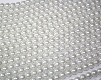 8mm White Glass Pearl Beads