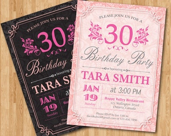 30th Birthday Invitation for Woman. Adult birthday party invites. Pink and Black or Any custom color. Floral. Any age. Printable digital.