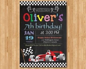 Race Car Birthday Invitation. Boy Racing Car birthday party invite. Chalkboard bday invites. Ferrari formula one 1. Printable digital DIY.