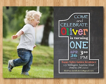 Chalkboard First Birthday Invitation with Picture. 1st Birthday Invite with Photo. Baby Boy or Girl Birthday Party. Printable Digital DIY
