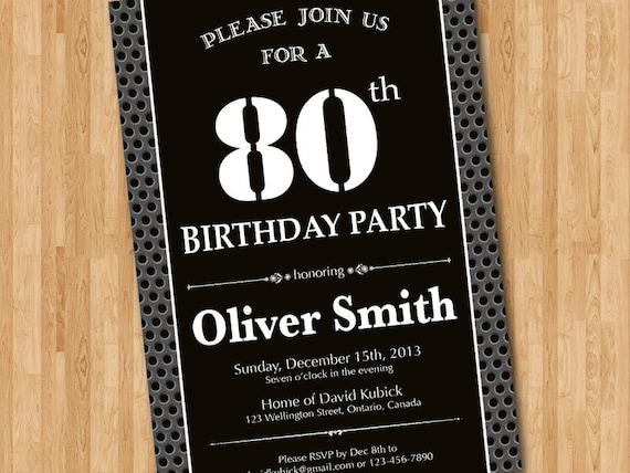 80th birthday invitation for men  black and white birthday