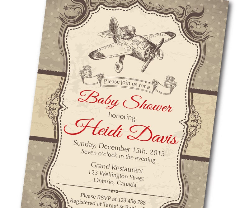 vintage airplane baby shower invitation. retro baby boy shower, Baby shower invitation