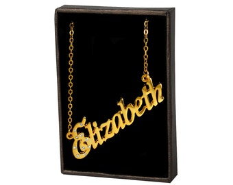 Name Necklace Elizabeth - Gold Plated 18ct Personalised Necklace with Czech Crystals