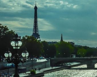 Blue Paris Photo, Eiffel Tower, Paris Photography, Paris Photo, Blue Paris Photo French Decor, Paris Decor, Paris Bridge, Lamp Post