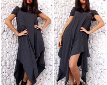 Maxi Asymmetrical Dress / Plus Size Maxi Dress / Extravgant Oversize Dress / Asymmetric Maxi Dress TDK34