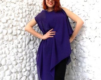 Purple Asymmetrical Top/ Extravagant Plus Size Blouse/ Asymmetric Extravagant Oversize Blouse TT20