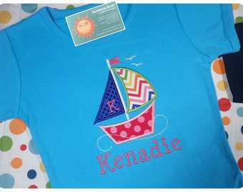 Girl's Nautical Sailboat Top with Embroidered Name