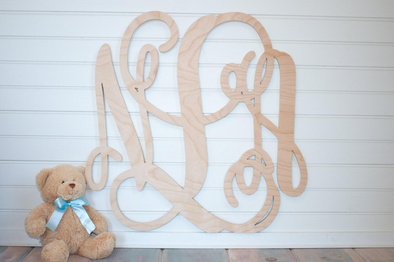 Monogram Wall Decor Diy : Unpainted wooden monogram diy wall decor