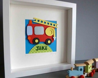 Personalised Baby Kids Children's picture - Fire Engine 3D Framed Handmade Paper Artwork