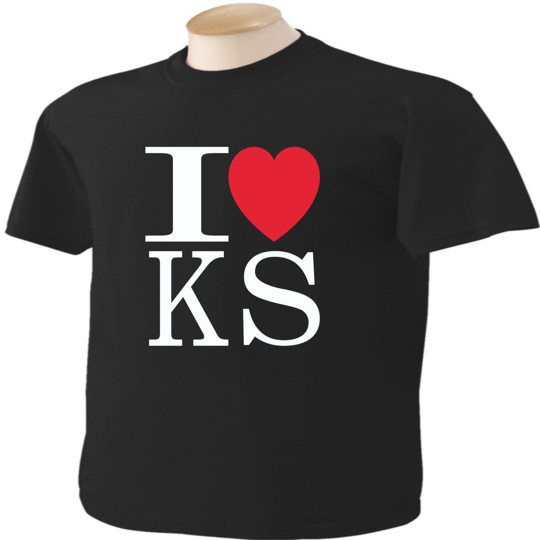 I love kansas t shirt heart ks for T shirt printing wichita ks