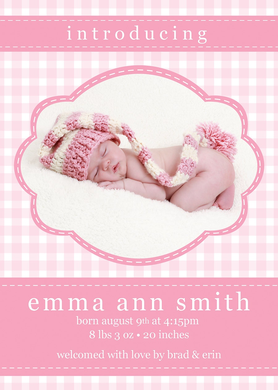girl birth announcement template gringham birth announcement. Black Bedroom Furniture Sets. Home Design Ideas