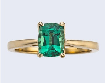 Engagement Ring Long Cushion Cut Emerald 14kt Yellow Gold Engagement Ring Wedding Ring Bloomed Love Ring Solitaire wedding ring