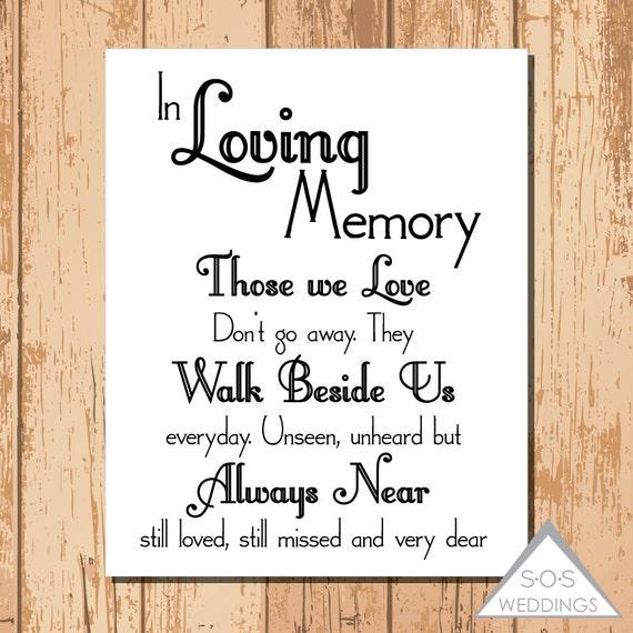 in loving memory wedding sign printable pdf by sosweddings