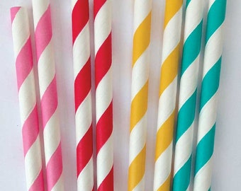 Citrus Mix Paper Straws - 25 Red, Aqua, Yellow, Pink Party Straws and DIY Printable Straw Flags / Birthday / Rainbow