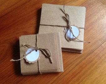 Blank Kraft cardstock cards with envelopes, mini cards, square cards, set of 10 cards and 10 envelopes,gift pack, 2 sizes,