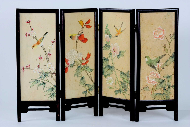 Chinese Shoji Screen ~ Japanese vintage miniature shoji screen four panel oriental