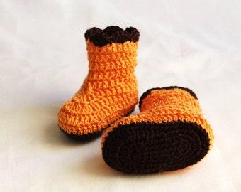 Items similar to Crochet Newborn Baby Girl Ruffle Booties, Ready To Be Shippe...